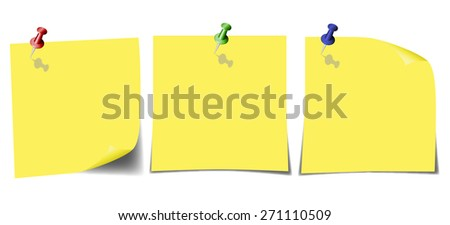 Yellow leaves with curved corners pinned colored heads. - stock vector
