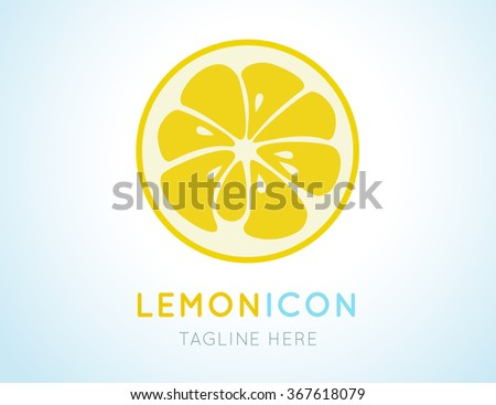 Yellow lemon stylish  icon isolated on white background. Juicy fruit logo. Logotype for citrus company. Refreshing yummy tropical summer fruit. Cocktail ingredient. Vector design illustration - stock vector