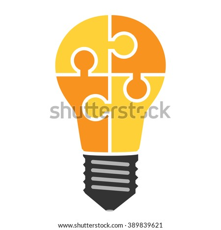 Yellow light bulb consisting of puzzle pieces isolated. Idea, business, solution, work, insight, brainstorm concept. Flat style. EPS 8 vector illustration, no transparency - stock vector