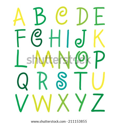 Yellow, Light Green and green vector alphabet letters on white illustration - stock vector
