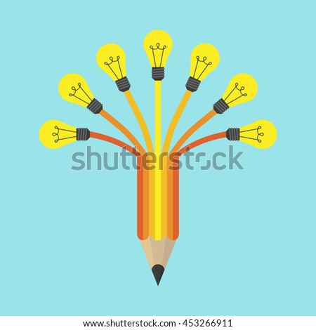 Yellow light on colored pencil on blue background. Inspiration, idea and insight concept. Flat design. Vector illustration. EPS 8, no transparency - stock vector