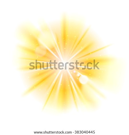 Yellow light sunburst background. Vector star burst with sparkles  illustration. - stock vector