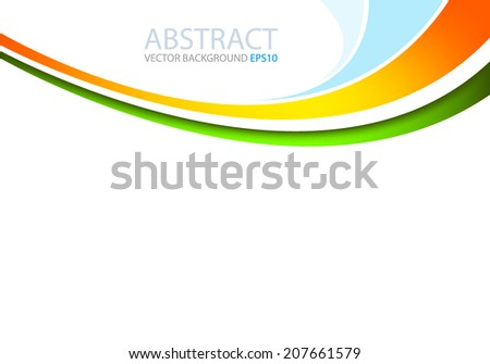 Yellow line with green and blue line background on white space for text and message design - stock vector