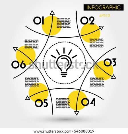 yellow linear infographic circle from arrows, six options