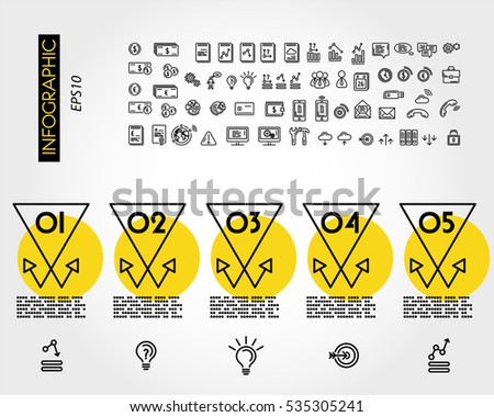 yellow linear infographic set of x triangular arrows, outline concept