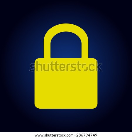Icon Yellow Yellow Lock Icon Vector on a
