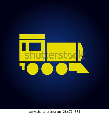 Yellow Locomotive icon . Vector illustration.on a blue background - stock vector