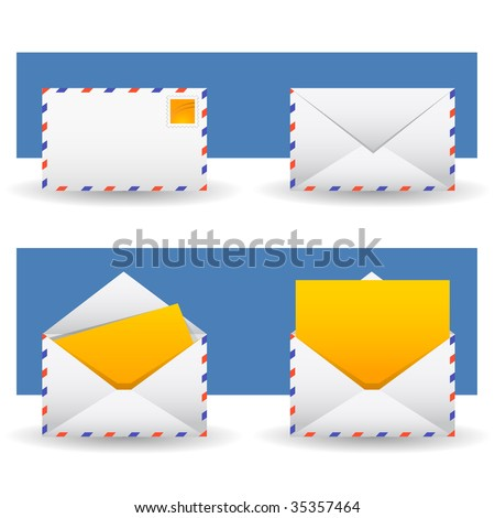 yellow mail icon - stock vector