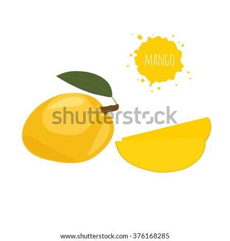 Yellow mango isolated on white background.