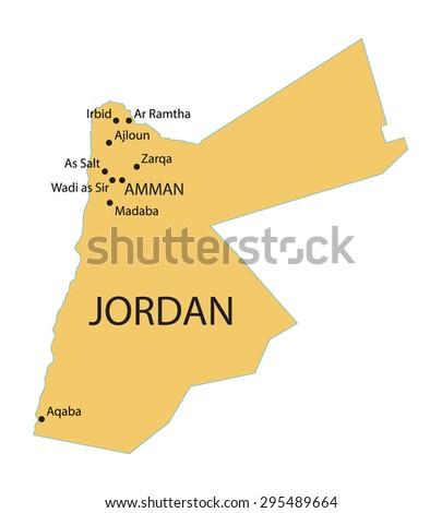 Yellow Map Jordan Indication Largest Cities Stock Vector HD Royalty