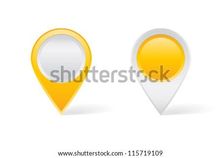 Yellow map pins - stock vector