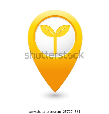 Yellow map pointer with Eco icon, ecological sign. Vector illustration - stock vector