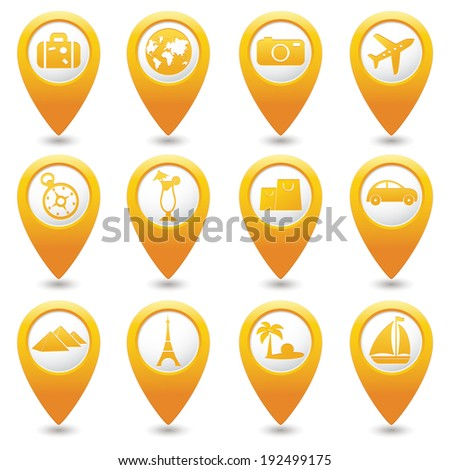 Yellow map pointers with travel icons. Part 1.Vector illustration. - stock vector