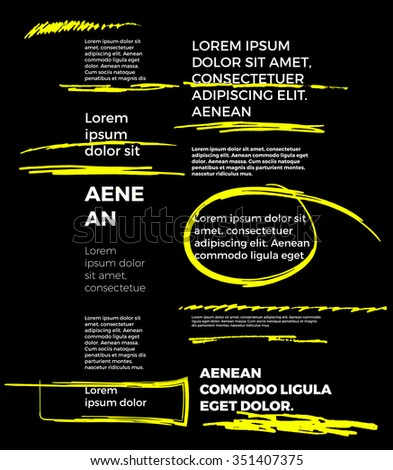 yellow marker text selection on black background vector set