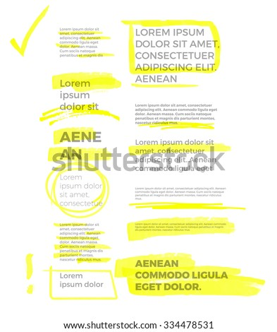 yellow marker text selection vector set - stock vector