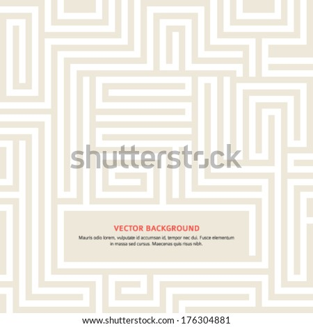 Yellow Maze texture and place for your text isolated. Abstract vector illustration EPS 10. Concept psychology, creative problem solving, logical thinking, the study of human relations - stock vector