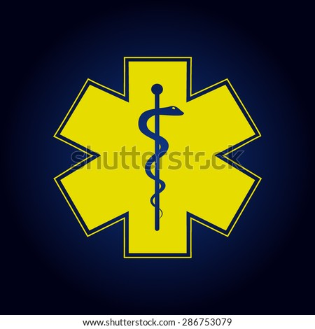Yellow Medical symbol of the Emergency - Star of Life - icon isolated  on a blue background - stock vector