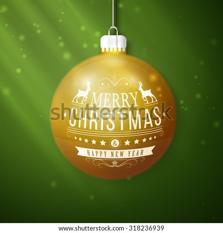 yellow merry christmas ball isolated on green background - stock vector
