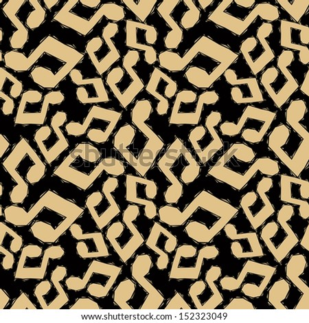 Yellow musical notes seamless pattern, geometric contemporary style repeating vector background, best for use as web backgrounds and wallpapers. - stock vector