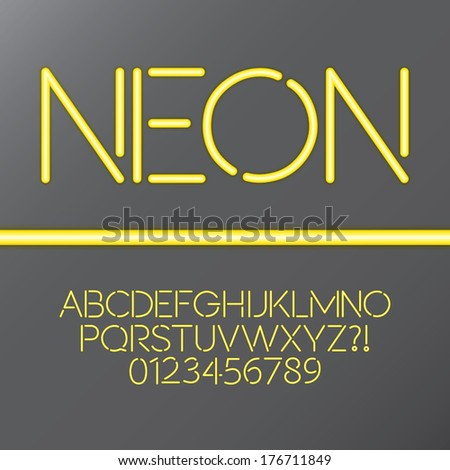 Yellow Neon Tube Alphabet and Numbers, Eps 10 Vector - stock vector