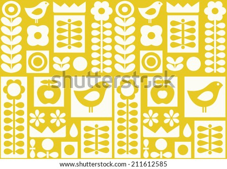 Yellow nordic folk ornament. Nature seamless - stock vector
