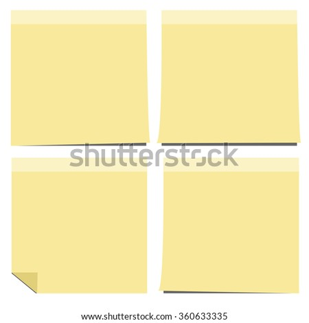 yellow notes isolated,Vector illustration  - stock vector