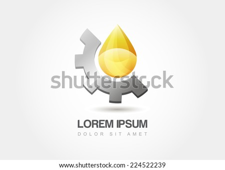Yellow oil industry drop symbol with gears cogs. Vector Illustration logo template. - stock vector