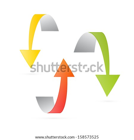 Yellow, Orange and Green 3d Vector Arrows Isolated on White Background