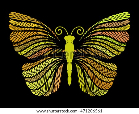 Yellow-orange butterfly on a black background. Vector illustration.