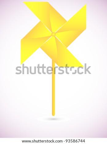 Yellow Origami Pinwheel Background - stock vector