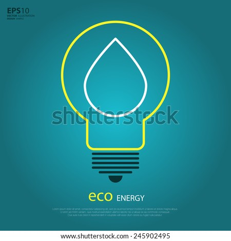 Yellow outline bulb with drop as logo with copyspace on blue background. Idea of eco-friendly source of energy - stock vector
