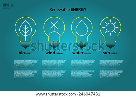 Yellow outline bulb with sun as logo with copyspace on blue background. Idea of eco-friendly source of energy. Renewable energy source. Energy conservation. Energy efficiency. Energy saving. Eco logo - stock vector