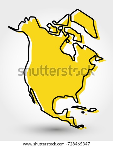 yellow outline map north america stylized stock vector 728465347
