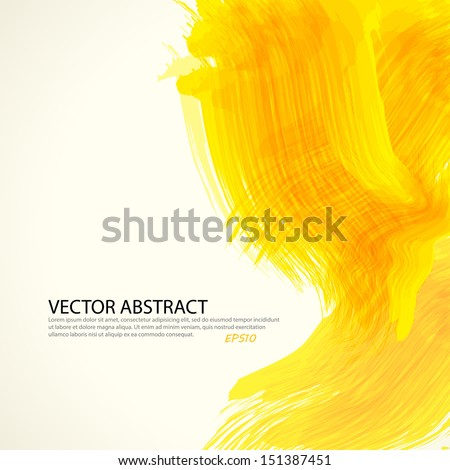 Yellow paint splashes background. Vector background with place for your text. - stock vector