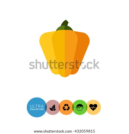Yellow paprika icon - stock vector