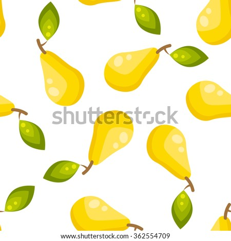 Yellow pear fruit seamless vector pattern. Healthy vegetarian lifestyle kitchen tablecloth apron print design.