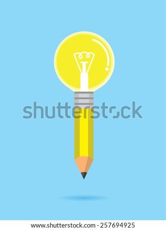 Yellow pencil Bulb means to creative idea - stock vector