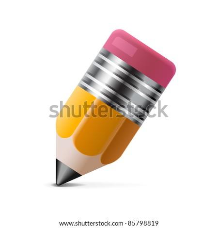 Yellow pencil icon - stock vector
