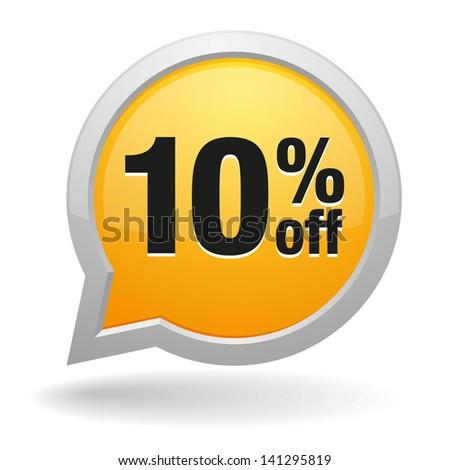 yellow 10 percent off speech bubble - stock vector