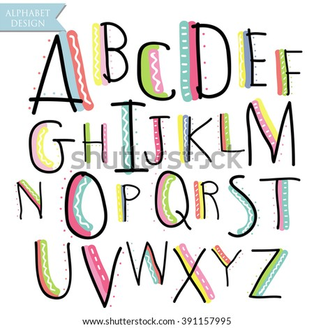 Yellow pink blue green black colorful ink alphabet letters.Hand drawn written - stock vector