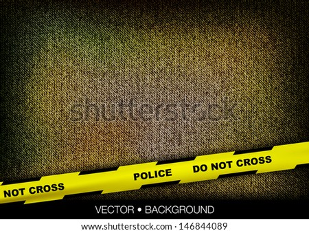yellow police tape over coarse texture - stock vector