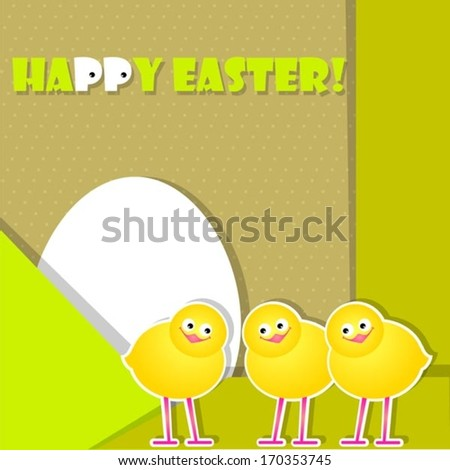yellow postcard with chicks - stock vector