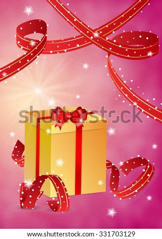 yellow present with bow and red ribbons on red background - stock vector