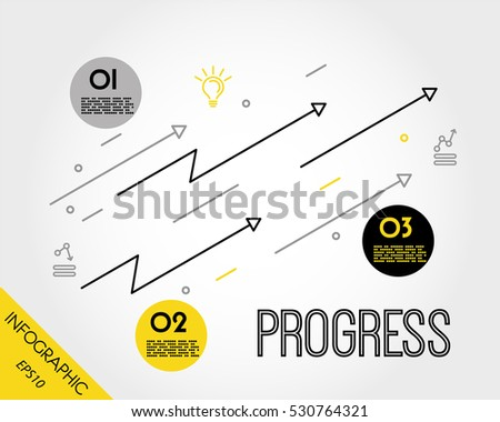 yellow progress infographic template with arrows, increase concept