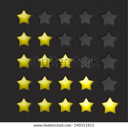 Yellow rating stars on a dark background