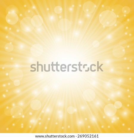 Yellow Ray Background with Stars and Wave. - stock vector