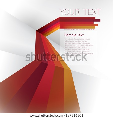 Yellow red edition of a scalable eps10 abstract geometric vector background with trendy retro stripes and the sense of 3d with menu and text field as a layout for a brochure or web, for universal use  - stock vector