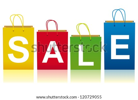 Yellow, red, green and blue shopping paper bags  The four bags saying SALE - stock vector