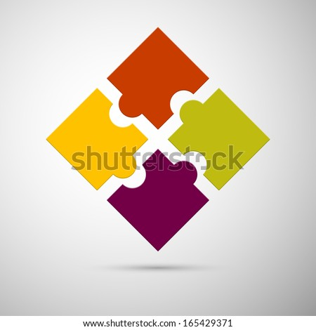 yellow, red, violet and green colored plastic puzzle infographic concept  - stock vector
