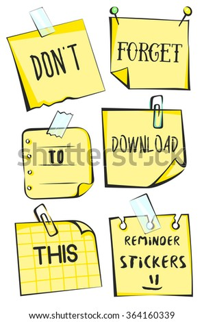 Yellow remind stickers on a white background. Paper reminder vector illustration. Modern vintage illustration techniques - stock vector